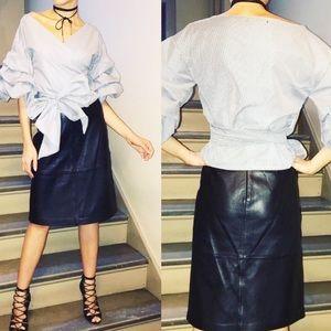 Gap vintage leather midi black lined skirt